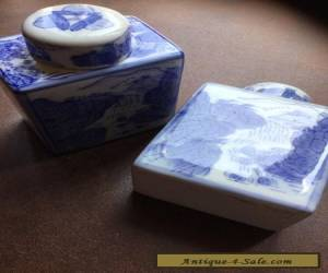 PAIR Vintage Chinese Blue and White Porcelain Square Vase for Sale