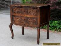 Antique French Oak Rococo Serpentine 2-Drawer Chest End Table Nightstand PETITE