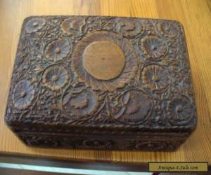 VINTAGE ORNATELY CARVED WOODEN  BOX for Sale
