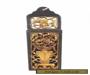 Antique Chinese Wood Carving Hanged Vase in Black & Gold for Sale