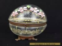 Antique Victorian Art Glass Oval Egg Shaped Hinged Box Enamel Decoration