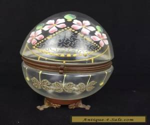 Antique Victorian Art Glass Oval Egg Shaped Hinged Box Enamel Decoration for Sale