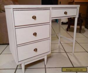 "Vintage Mid Century Desk 1950 ""4 Drawers"" Rustic White Wood Shabby Chic for Sale"