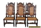 Set of Six French Antique Carved Oak Dining Chairs Cane Seats and Backs for Sale