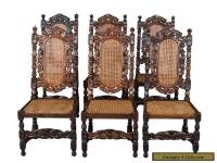 Set of Six French Antique Carved Oak Dining Chairs Cane Seats and Backs