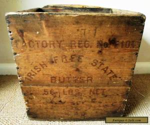 Very Rare Antique 'Irish Free State' Wooden Butter Crate/Box - Advertising for Sale