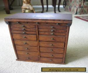 Small Antique Oak/Ash Cabinet w/ 19 Drawers and Original Brass Knobs for Sale
