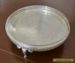 MINT! VINTAGE SILVER PLATE FOOTED GALLERY SERVING TRAY! for Sale