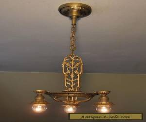 Professionally Restored Antique Three Light Fixture with Gorgeous Details for Sale