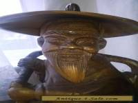 vintage wooden carved fisherman large