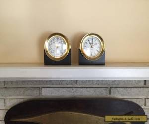 Vintage Chelsea Boat Ship's Clock And Barometer Set & Stands Heavy Solid Brass for Sale