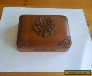 Vintage hand-carved Kashmir solid Walnut trinket box for Sale