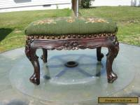 Antique French Footstool Carved Mahogany Floral Needlepoint Louis XV Style