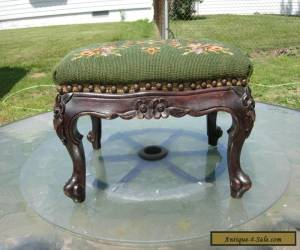 Antique French Footstool Carved Mahogany Floral Needlepoint Louis XV Style for Sale
