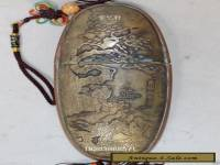 Collections chinese handwork carved landscape bronze glasses case old box