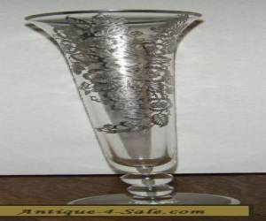 "Art Nouveau Sterling Silver Overlay Bud Vase 10"" tall for Sale"