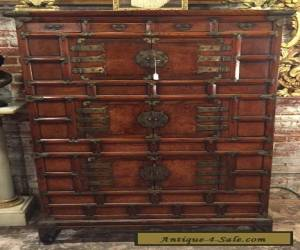 A Vintage Korean Carved Wood & Brass Mounted Cabinet  for Sale