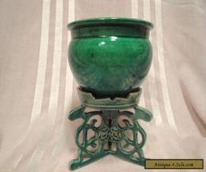 Beautiful Antique Monochrome Green Pottery Chinese Vase Stand & Dish 3 Pieces for Sale
