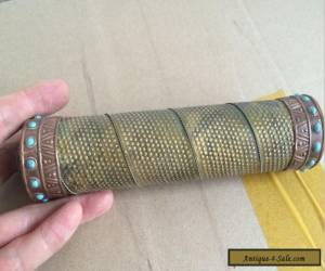 Old Decorated Handwork Copper Carving Flower Inlay Turquoise Beads Kaleidoscope for Sale