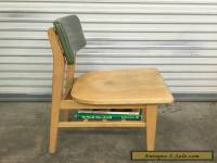 Mid Century Library Furniture Wood Chair With Book Shelf Office Vintage