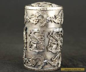 Collection Tibet Silver dragon PHOENIX TOBACCO SNUFF BOX  for Sale