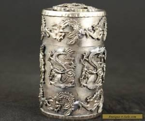 Collection Tibet Silver dragon PHOENIX TOBACCO SNUFF BOX  for Sale