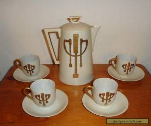 Antique Art Nouveau Secessionist J&C Bavaria Porcelain Coffee Pot Service Set for Sale