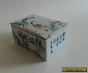 Antique Chinese Porcelain  Ink Pot Box ~ Calligraphy  for Sale