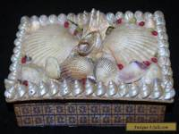 ANTIQUE VICTORIAN MARITIME FOLK ART SAILORS VALENTINE SHELL BOX JEWELRY TRINKET