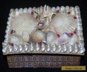 ANTIQUE VICTORIAN MARITIME FOLK ART SAILORS VALENTINE SHELL BOX JEWELRY TRINKET for Sale