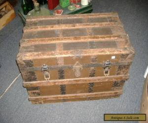 Wood Metal Steamer Trunk Vintage Antique Farmhouse Chic Coffee Table Slatted Sma for Sale