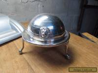 VINTAGE ADAMS ENGLAND SILVERPLATE ROUND DOME BUTTER DISH LION HEAD FOOTED