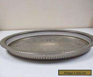 Old Silver Plated Large Serving Tray by M & R for Sale