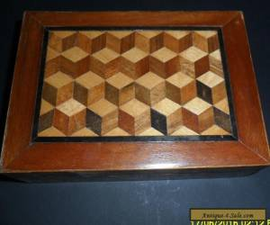 vintage wooden inlaid box for Sale