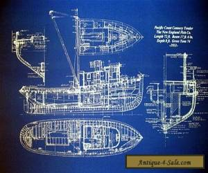 "Vintage Alaska Fishing Trawler 1933 Blueprint Drawing 20""x24"" (005)  for Sale"