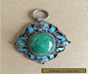 Chinese handwork tibet-silver inlay old green jade Cloisonne blue Flower Pendant for Sale