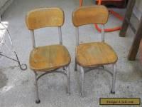 Set of 2 Vintage Heywood Wakefield Small Wood/Metal School Desk or Table Chairs