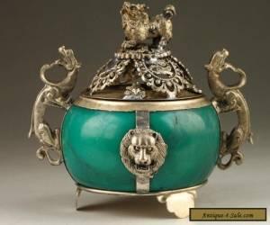 Old Tibet Handmade Silver Dragon Jade Incense Burner NR for Sale