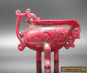 Chinese collection handwork dragon resin red coral tripodia cup for Sale