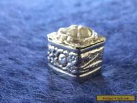 Solid Silver Antique Pill Box - Square