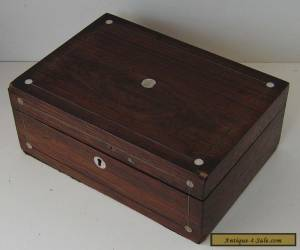 ROSEWOOD VENEERED INLAID WOODEN BOX VINTAGE WITH KEY RESTORATION PROJECT for Sale