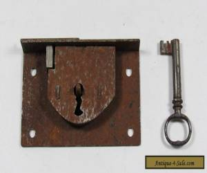 Antique 19th Century Steel Chest Lock with Keeper and Key for Sale