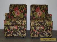 Pair Vintage Mid Century Modern Club Lounge Chairs Floral Upholstery 111005