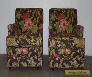 Pair Vintage Mid Century Modern Club Lounge Chairs Floral Upholstery 111005 for Sale