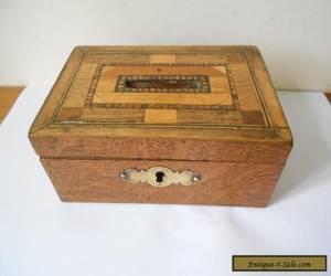 Parquetry Wooden Oak Money Box, Victorian c.1900.Brass escutcheon & fitting key for Sale