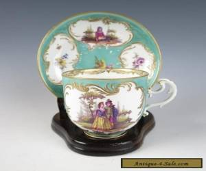 c. 1750 MEISSEN TURQUOISE GROUND CUP & SAUCER Antique German Porcelain for Sale