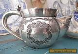 1880's Antique Silver Plate Shaving Mug Magnificent Engraving Atkin Brothers for Sale