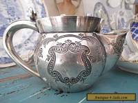 1880's Antique Silver Plate Shaving Mug Magnificent Engraving Atkin Brothers