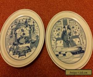 A pair of blue and white Chinese plates for Sale