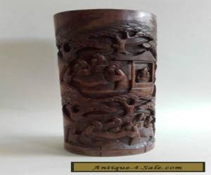 A Large Antique Vintage Chinese Carved Brush Pot with Figures for Sale